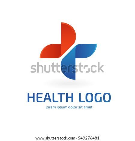 Logo design abstract medical vector template. Illustration design of logotype cross health symbol