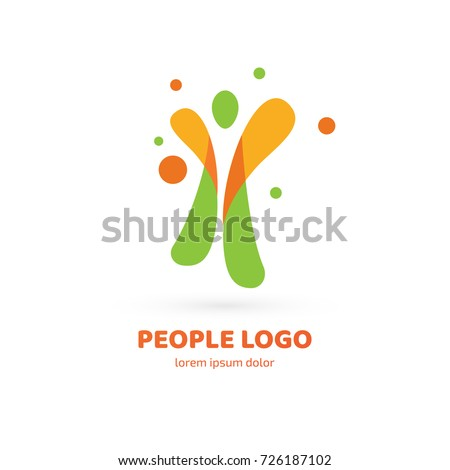 Logo design abstract people vector template. Illustration design of logotype business active person symbol. Vector happy man web icon.