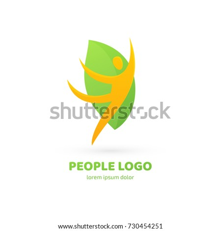 Logo design abstract people vector template. Illustration design of logotype business relaxation symbol. Vector happy man web icon.