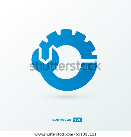 Logo design abstract repair vector template. Illustration design of logotype business spanner and nut symbol. Vector web work tool icon.