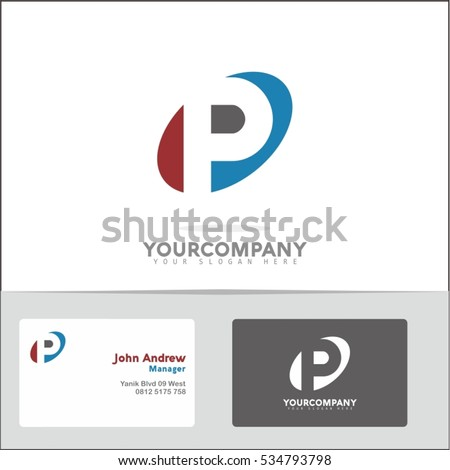 logo design element with two business cards letter p vector logo symbol in the red