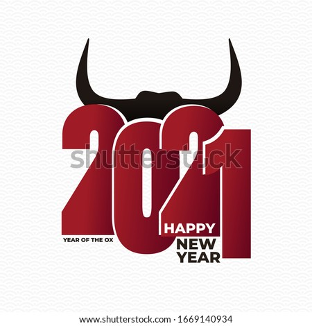 Logo design 2021 New year. Chinese new year. Metal ox horoscope sign. 2021 design. New year symbol. Flat Chinese horoscope metal ox with 2021. Vector illustration. Ox sign isolated on white background