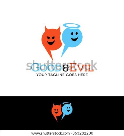 logo design of angel and devil