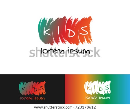 logo design of kids' tempalte with colored paint color