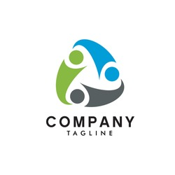 logo design 3 pieces of human being around a triangle shape