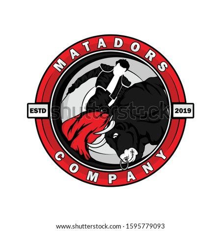Logo design template of The matador in action with bull. Matador is culture in spanyol.  Stock fotó ©