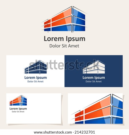 Logo design template with abstract building Vector Icon