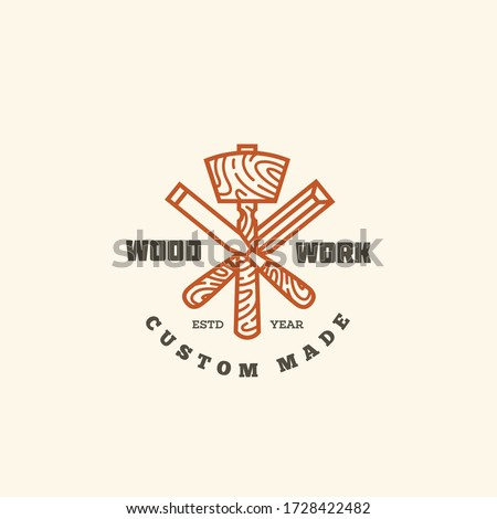 Logo design template with two chisels and mallet for wood shop, carpentry, woodworkers, wood working industry. Linear style. Vector illustration. Stock photo ©