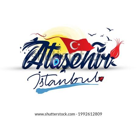 Logo design with 'atasehir istanbul' text Stok fotoğraf ©