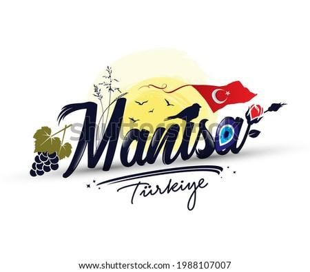 Logo design with 'Manisa turkiye' text Zdjęcia stock ©