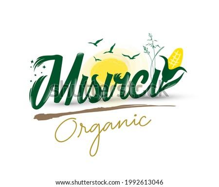 Logo design with 'misirci organic' text Stock fotó ©
