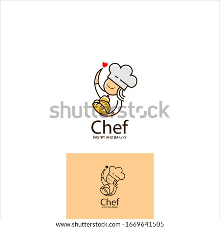 logo design, with the icon of a cute female chef carrying a variety of breads and symbols serving with heart