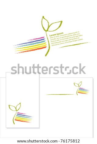 Logo - Eco / Environmental Theme (little plant seedling and a rainbow)