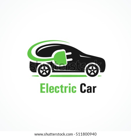 Logo electric car silhouette car and cable plug charging #511800940