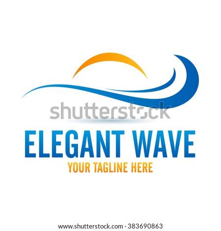 Logo Elegant Wave Icon Element Template Design Logos