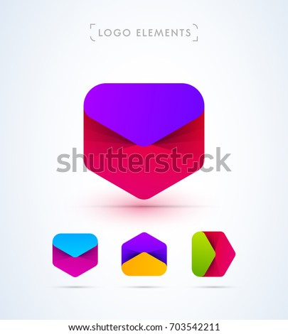 Logo elements set. Vector abstract arrows collection. Material design mail letters