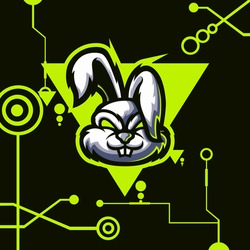 logo esport rabbit angry expression with green ornament. logo vector character rabbit for gaming. theme white color costume character.