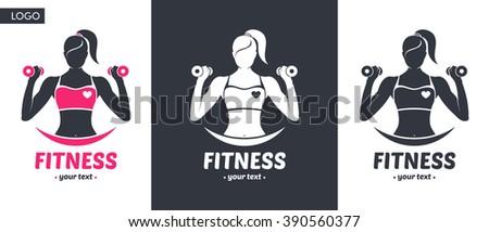 logo fitness girl silhouette
