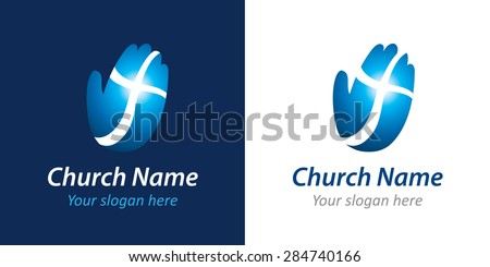 Logo for a church or Christian organization in the form of a palm with a cross. Cross on the hand church logo