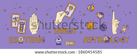Logo for a tarot reader, print for souvenirs, a set of drawings about tarot card. Fortune telling on tarot cards, fortuneteller, witch, female hand, magic, love spell, occultism, prediction, esoteric Сток-фото ©