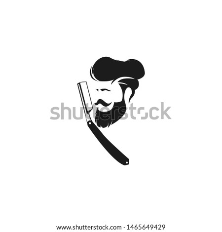 Logo for barbershop, hair salon. Black and white barbershop logotype. Barbershop sign. Vector Illustration