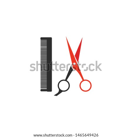 Logo for barbershop, hair salon. Black, red, and white barbershop logotype. Barbershop sign. Vector Illustration