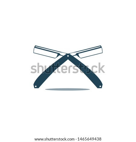 Logo for barbershop, hair salon. Blue and white barbershop logotype. Barbershop sign. Vector Illustration
