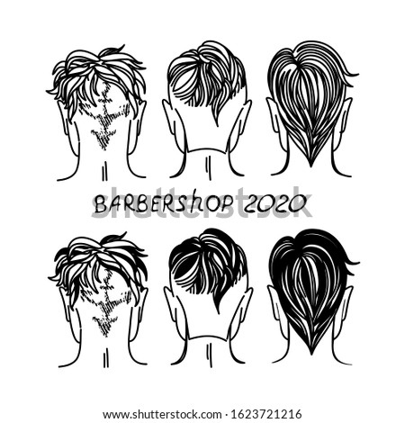 Logo for barbershop, hair salon with hipster haircuts. Vector Illustration