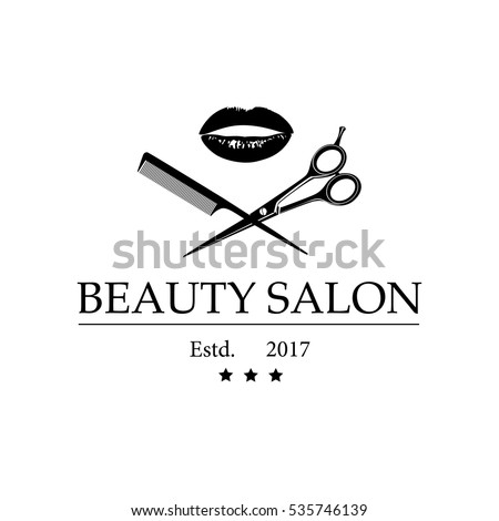 Logo for beauty salon with woman's lips, scissors and comb. Vector Illustration