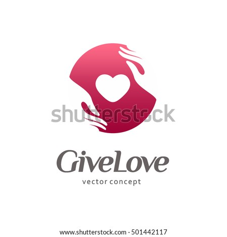 Logo for charity and care. Logo for the orphanage, baby care. Give love