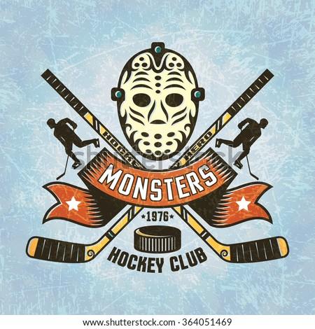 logo for hockey team   retro