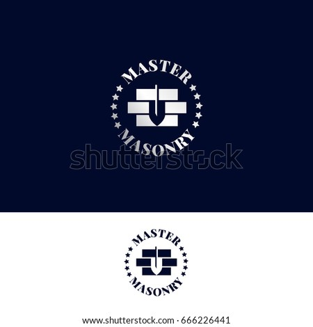 Logo for masonry master. Stonework company vector symbol with bricks and trowel in negative space