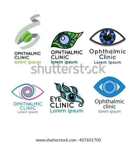 Logo for ophthalmic clinic or eye clinic. Set. Ophthalmology. Donation retina. World glaucoma day