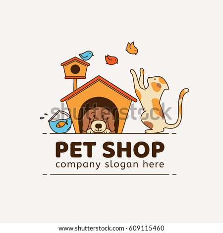 Logo for pet shop, veterinary clinic, animal shelter, designed in a modern style vector lines.
