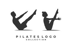 Logo for pilates with the two person element. Gymnastics or fitness design template. Vector illustration