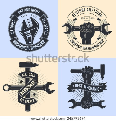 Logo for repair workshop in old school style. Vintage mechanics emblem. Working tools - open-end, adjustable wrench. Hand with hammer, spanner.