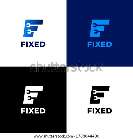 Logo formed from the letter F and two wrenches, blue gradient color. Strong, simple, clean, modern, and professional. Suitable for automotive company, car repair shops, etc Foto stock ©