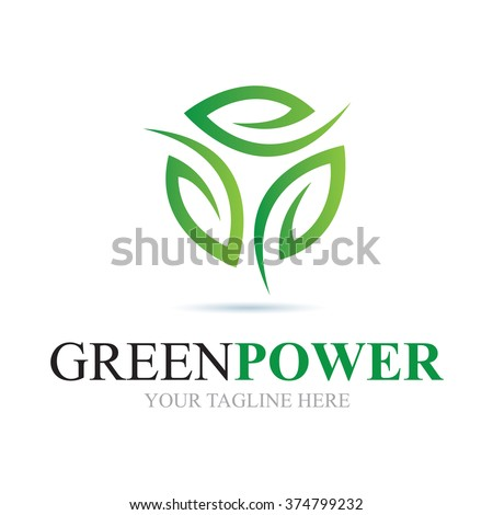 Logo Green Power Icon Element Template Design