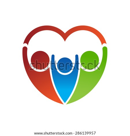 Logo Group of people forming a heart. Family care concept