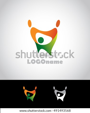 Logo.Happy people. Fun. Three persons.Dancing people.Hold hands.Community.Teamwork.
