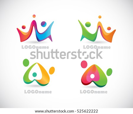 Logo Happy People. Fun.Three persons.Dancing people.Hold hands.Teamwork.Community.Set of Vector Icons.Leader.Family