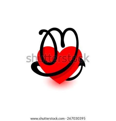 Letter m Logo Red Logo Heart Letter m