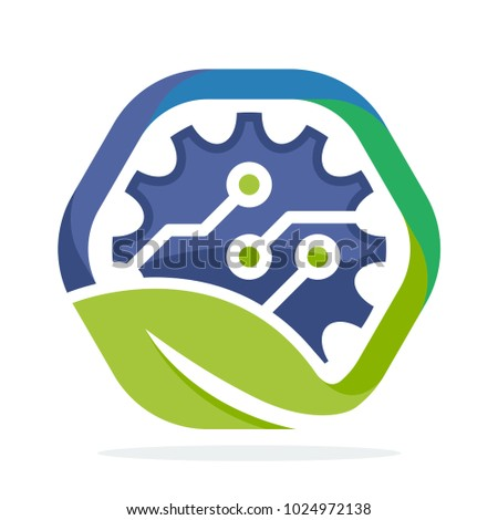 logo icon for green technology business, environmentally friendly