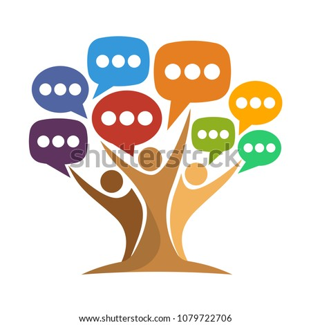 logo icon for media conversation, exchanging information