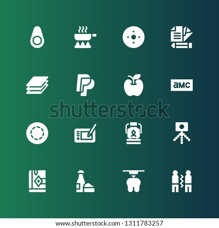 logo icon set. Collection of 16 filled logo icons included Friendship, d, Wine, Bible, Camera, Oil lamp, Graphic tablet, Gif, Amc, Apple, Paypal, Layers, Letter, Blur, Frying pan
