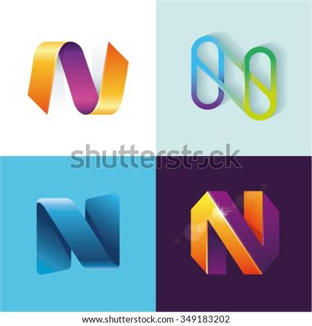 Logo idea of letter N set Stock foto ©