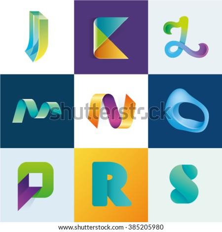 Logo idea of letters J K L M N O P R S set Stok fotoğraf ©