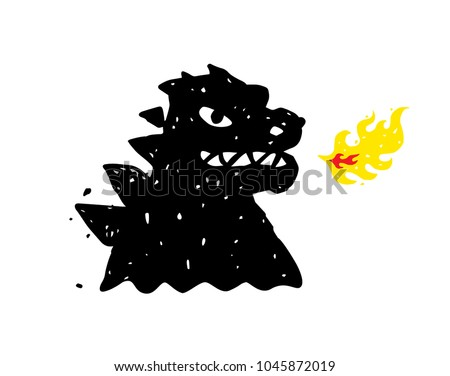 logo  illustration of godzilla