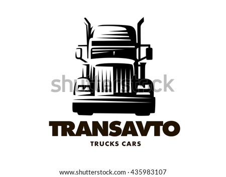 Logo illustration truck, front view, white background