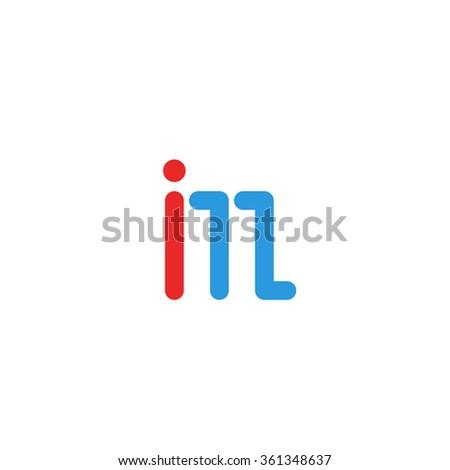 Logo IM letter together, mockup international media emblem, blue and red line I, M design element logotype, combination IN letters Zdjęcia stock ©